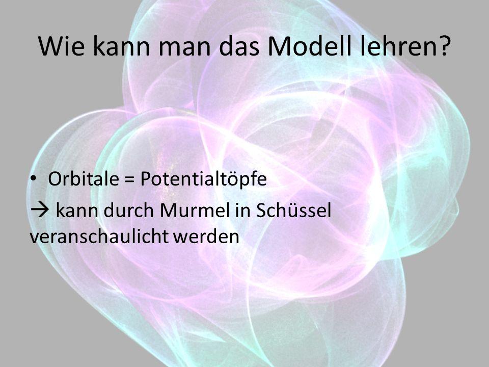Wie kann man das Modell lehren? Orbitale = Potentialtöpfe kann durch Murmel in Schüssel veranschaulicht werden