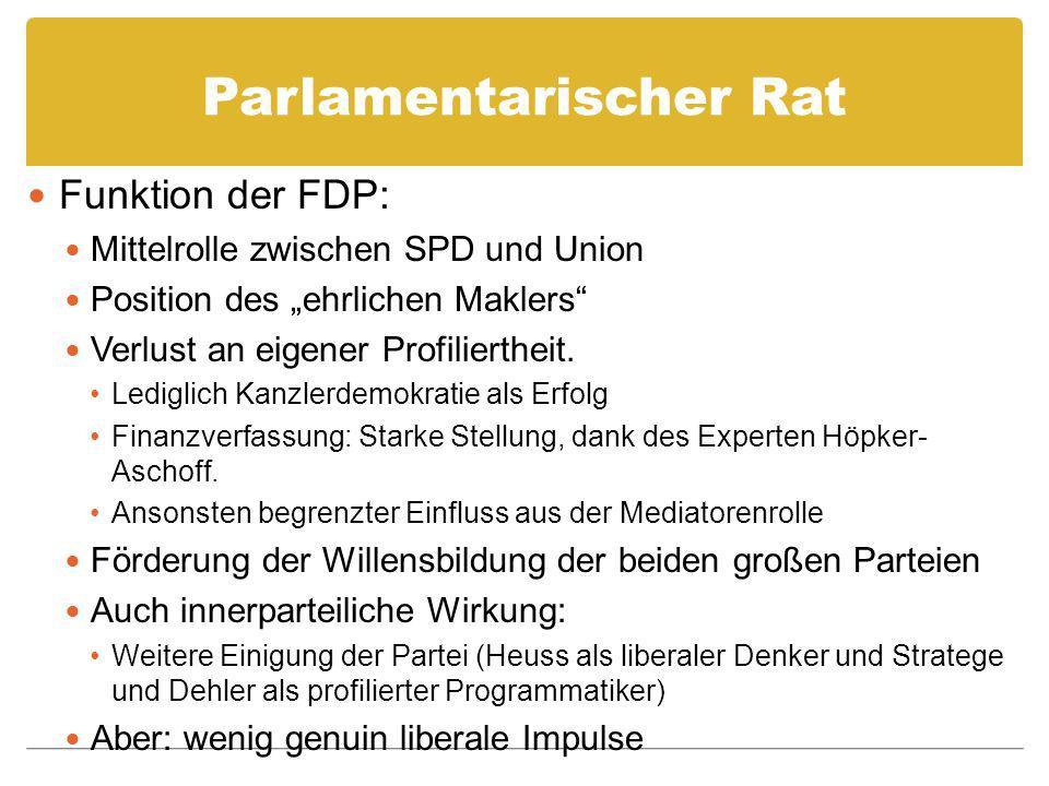 Parlamentarischer Rat Funktion der FDP: Mittelrolle zwischen SPD und Union Position des ehrlichen Maklers Verlust an eigener Profiliertheit. Lediglich