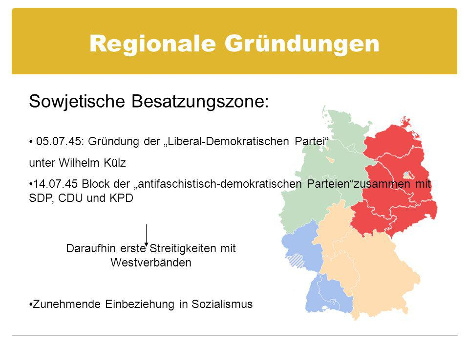 Regionale Gründungen 05.07.45: Gründung der Liberal-Demokratischen Partei unter Wilhelm Külz 14.07.45 Block der antifaschistisch-demokratischen Partei