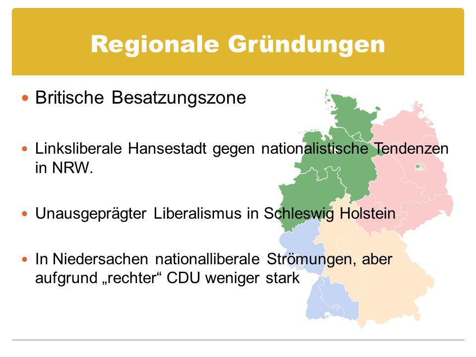 Regionale Gründungen Britische Besatzungszone Linksliberale Hansestadt gegen nationalistische Tendenzen in NRW. Unausgeprägter Liberalismus in Schlesw