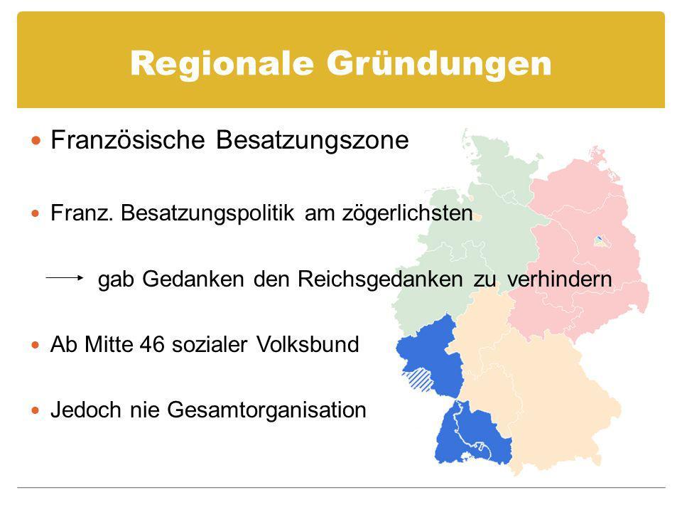 Regionale Gründungen Französische Besatzungszone Franz. Besatzungspolitik am zögerlichsten gab Gedanken den Reichsgedanken zu verhindern Ab Mitte 46 s