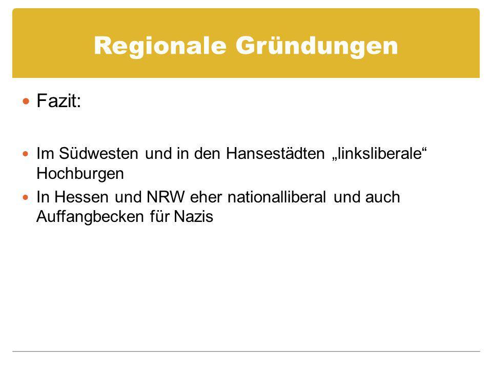 Regionale Gründungen Fazit: Im Südwesten und in den Hansestädten linksliberale Hochburgen In Hessen und NRW eher nationalliberal und auch Auffangbecken für Nazis