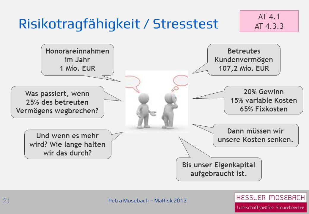 Risikotragfähigkeit / Stresstest Petra Mosebach – MaRisk 2012 21 AT 4.1 AT 4.3.3 Betreutes Kundenvermögen 107,2 Mio.