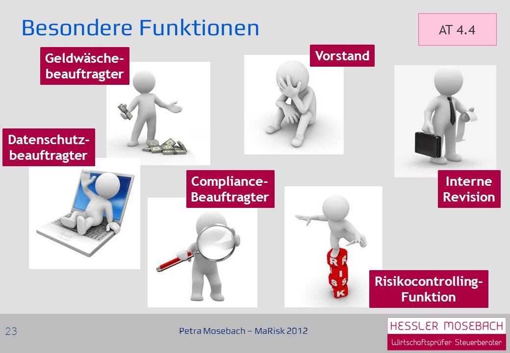 Besondere Funktionen Petra Mosebach – MaRisk 2012 23 AT 4.4 Vorstand Geldwäsche- beauftragter Datenschutz- beauftragter Compliance- Beauftragter Risikocontrolling- Funktion Interne Revision