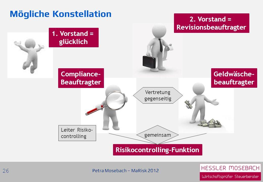 Petra Mosebach – MaRisk 2012 26 2.Vorstand = Revisionsbeauftragter Compliance- Beauftragter 1.