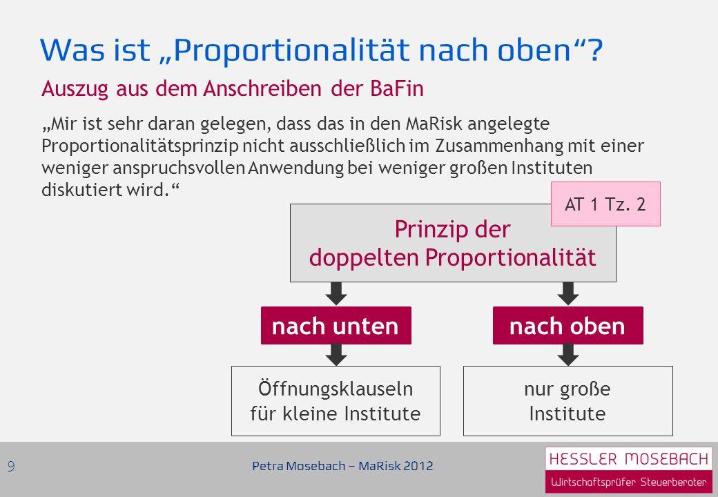 Das Risikomanagement muss… …proportional zu Ihren wesentlichen Risiken sein …angemessen und passend zu Art, Umfang und Komplexität Ihrer Geschäfte sein Flexibilität und Problematik Proportionalitätsgrundsatz Petra Mosebach – MaRisk 2012 10 AT 1 Tz.