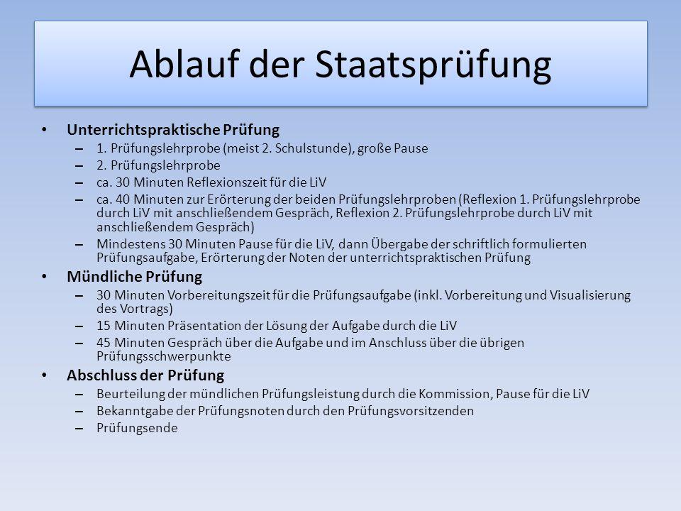 Ablauf der Staatsprüfung Unterrichtspraktische Prüfung – 1.