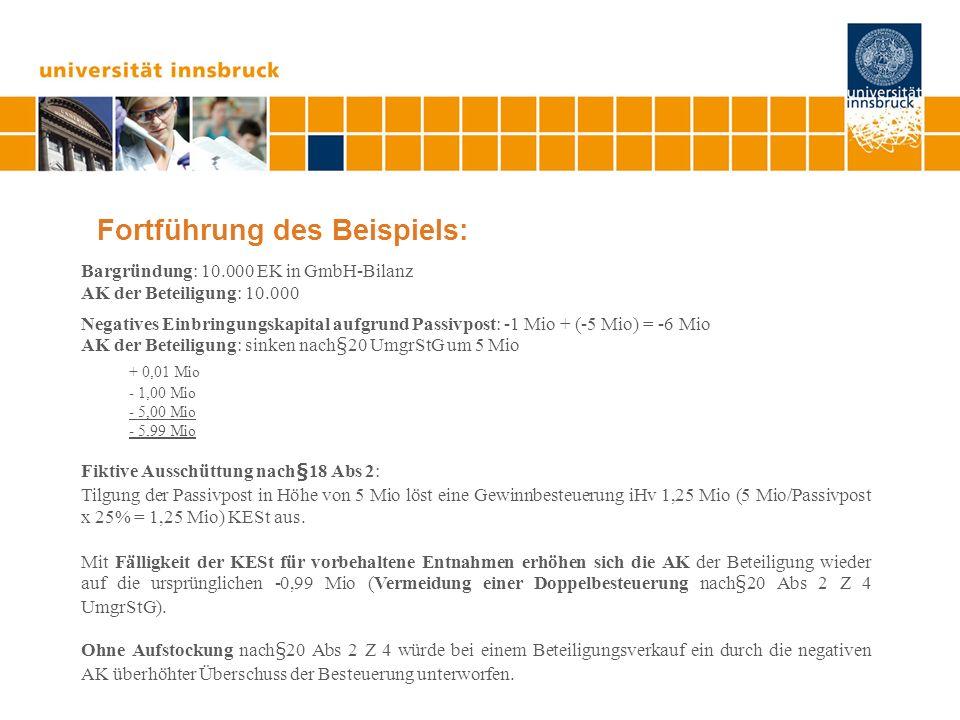 Fortführung des Beispiels: Bargründung: 10.000 EK in GmbH-Bilanz AK der Beteiligung: 10.000 Negatives Einbringungskapital aufgrund Passivpost: -1 Mio