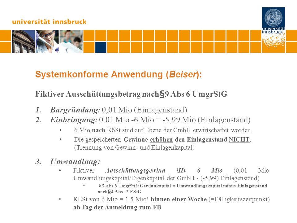 Systemkonforme Anwendung (Beiser): Fiktiver Ausschüttungsbetrag nach§9 Abs 6 UmgrStG 1.Bargründung: 0,01 Mio (Einlagenstand) 2.Einbringung: 0,01 Mio -