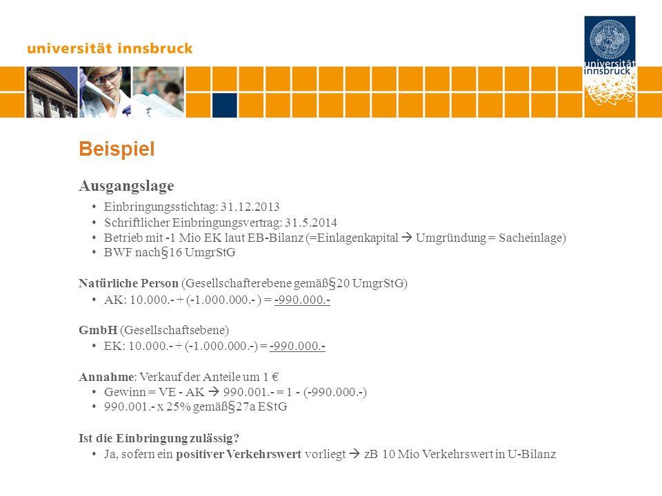 Beispiel Ausgangslage Einbringungsstichtag: 31.12.2013 Schriftlicher Einbringungsvertrag: 31.5.2014 Betrieb mit -1 Mio EK laut EB-Bilanz (=Einlagenkap