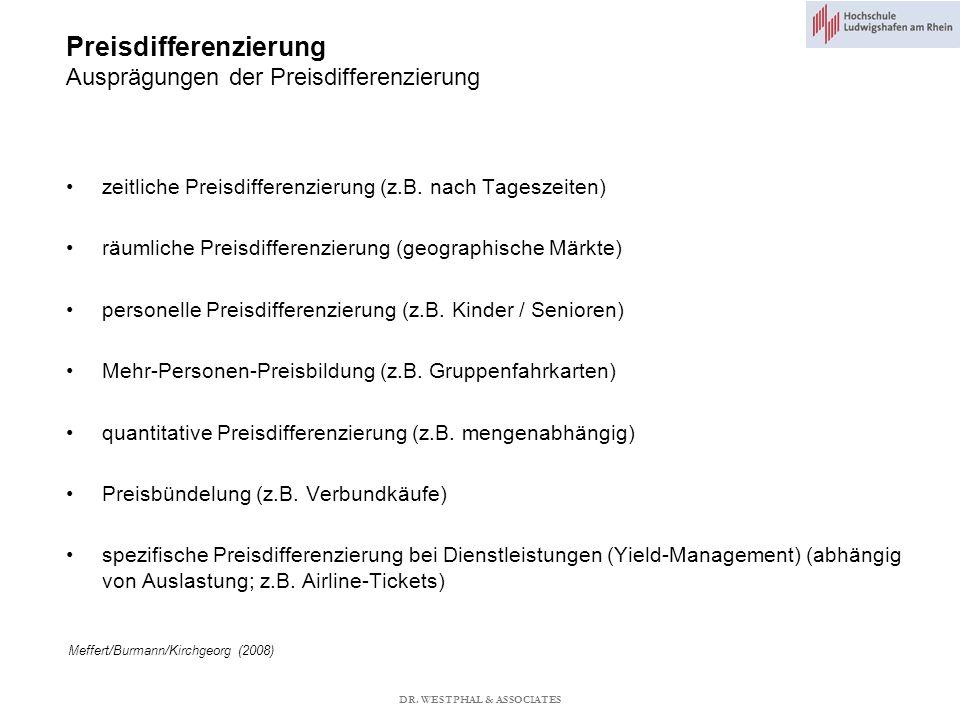Preisdifferenzierung Ausprägungen der Preisdifferenzierung Meffert/Burmann/Kirchgeorg (2008) zeitliche Preisdifferenzierung (z.B.