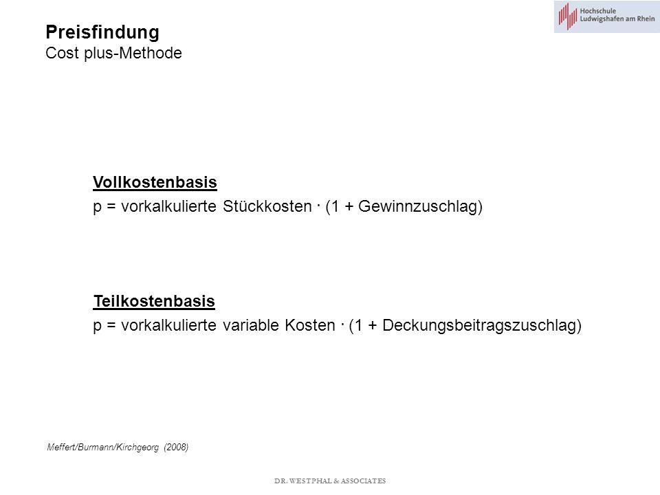 Preisfindung Cost plus-Methode Meffert/Burmann/Kirchgeorg (2008) Vollkostenbasis p = vorkalkulierte Stückkosten.
