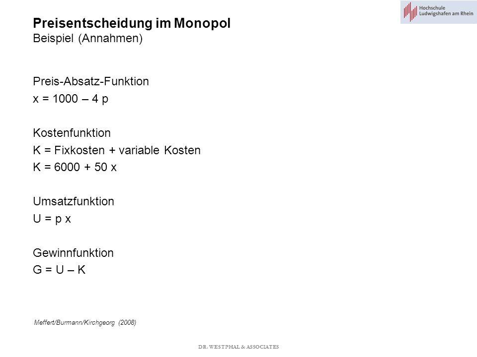 Preisentscheidung im Monopol Beispiel (Annahmen) Meffert/Burmann/Kirchgeorg (2008) Preis-Absatz-Funktion x = 1000 – 4 p Kostenfunktion K = Fixkosten + variable Kosten K = 6000 + 50 x Umsatzfunktion U = p x Gewinnfunktion G = U – K DR.
