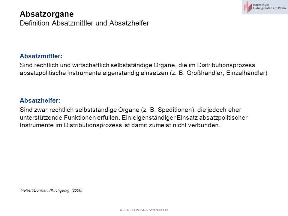 Absatzorgane Definition Absatzmittler und Absatzhelfer Meffert/Burmann/Kirchgeorg (2008) Absatzmittler: Sind rechtlich und wirtschaftlich selbstständige Organe, die im Distributionsprozess absatzpolitische Instrumente eigenständig einsetzen (z.