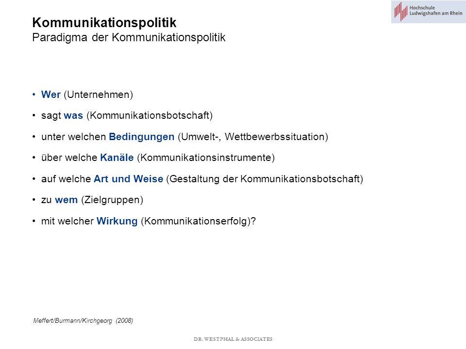 Kommunikationspolitik Paradigma der Kommunikationspolitik Meffert/Burmann/Kirchgeorg (2008) Wer (Unternehmen) sagt was (Kommunikationsbotschaft) unter welchen Bedingungen (Umwelt-, Wettbewerbssituation) über welche Kanäle (Kommunikationsinstrumente) auf welche Art und Weise (Gestaltung der Kommunikationsbotschaft) zu wem (Zielgruppen) mit welcher Wirkung (Kommunikationserfolg).