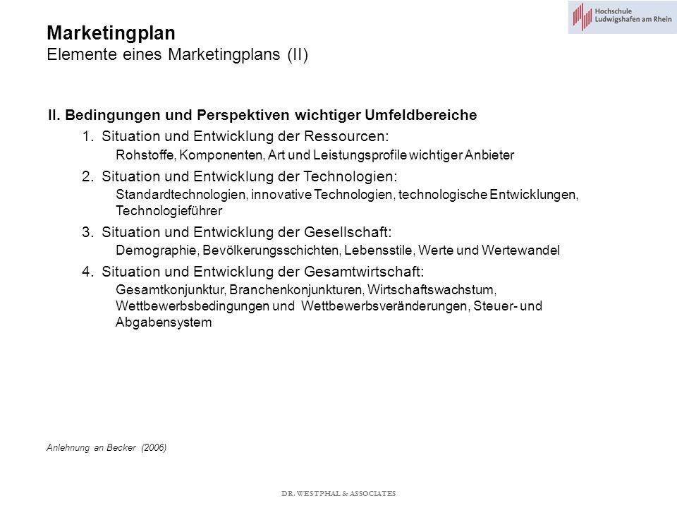 Marketingplan Elemente eines Marketingplans (II) II.