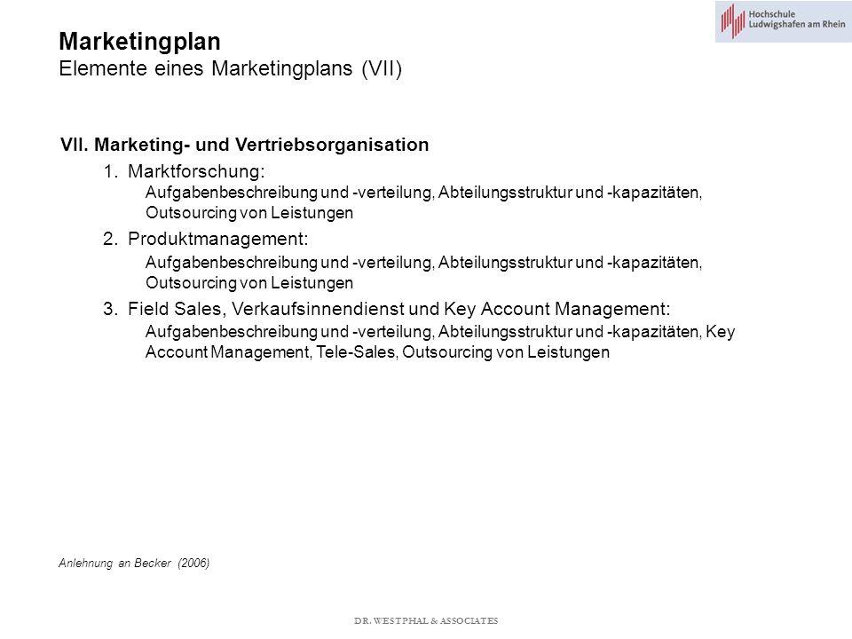 Marketingplan Elemente eines Marketingplans (VII) VII.