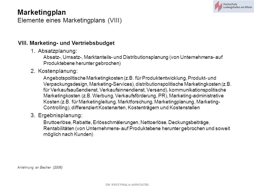 Marketingplan Elemente eines Marketingplans (VIII) VIII.