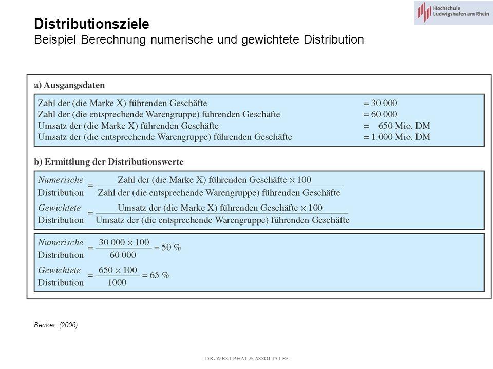 Distributionsziele Beispiel Berechnung numerische und gewichtete Distribution Becker (2006) DR.