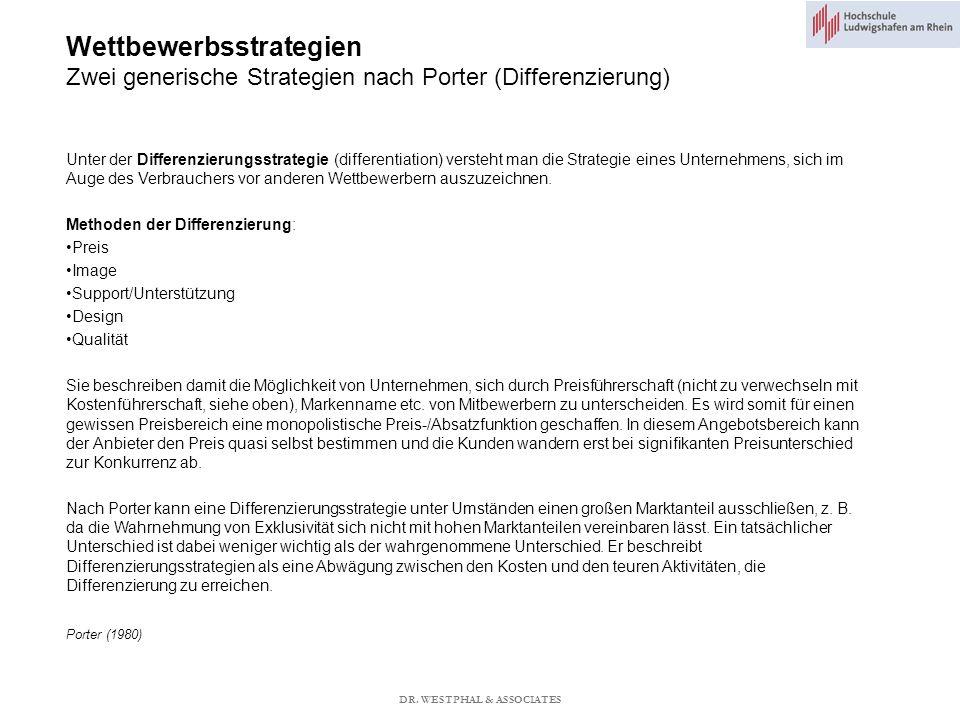Wettbewerbsstrategien Zwei generische Strategien nach Porter (Differenzierung) Porter (1980) Unter der Differenzierungsstrategie (differentiation) versteht man die Strategie eines Unternehmens, sich im Auge des Verbrauchers vor anderen Wettbewerbern auszuzeichnen.
