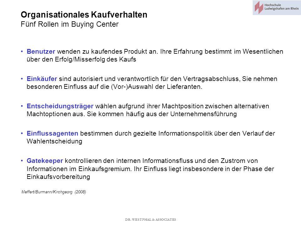 Organisationales Kaufverhalten Fünf Rollen im Buying Center Meffert/Burmann/Kirchgeorg (2008) Benutzer wenden zu kaufendes Produkt an.