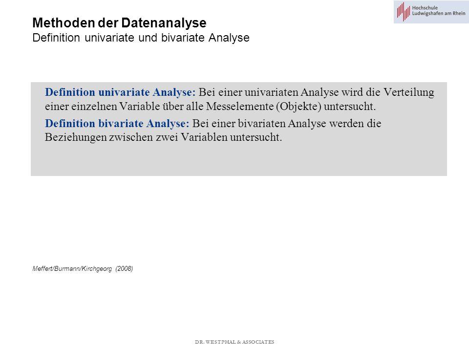 Methoden der Datenanalyse Definition univariate und bivariate Analyse Definition univariate Analyse: Bei einer univariaten Analyse wird die Verteilung einer einzelnen Variable über alle Messelemente (Objekte) untersucht.