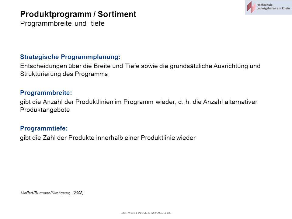Produktprogramm / Sortiment Programmbreite und -tiefe Meffert/Burmann/Kirchgeorg (2008) Strategische Programmplanung: Entscheidungen über die Breite und Tiefe sowie die grundsätzliche Ausrichtung und Strukturierung des Programms Programmbreite: gibt die Anzahl der Produktlinien im Programm wieder, d.