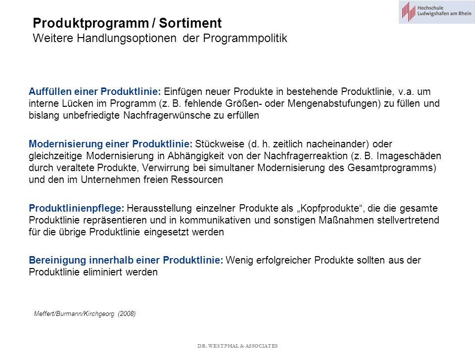 Produktprogramm / Sortiment Weitere Handlungsoptionen der Programmpolitik Meffert/Burmann/Kirchgeorg (2008) Auffüllen einer Produktlinie: Einfügen neuer Produkte in bestehende Produktlinie, v.a.