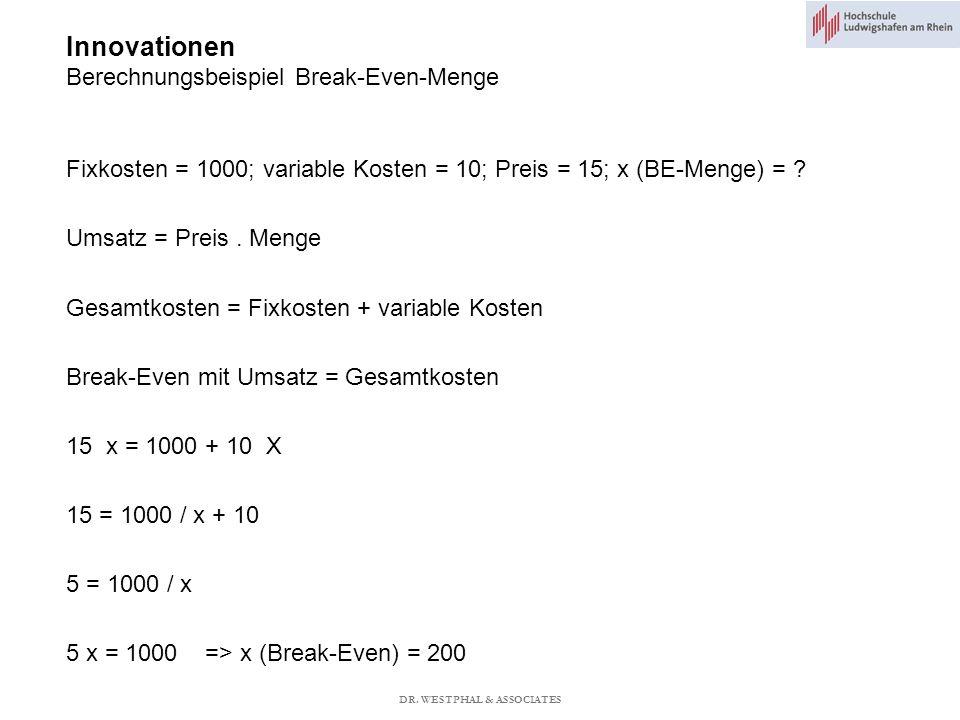 Innovationen Berechnungsbeispiel Break-Even-Menge Fixkosten = 1000; variable Kosten = 10; Preis = 15; x (BE-Menge) = .