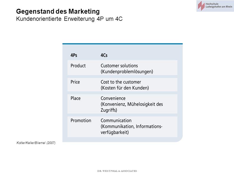 Gegenstand des Marketing Kundenorientierte Erweiterung 4P um 4C Kotler/Keller/Bliemel (2007) DR.