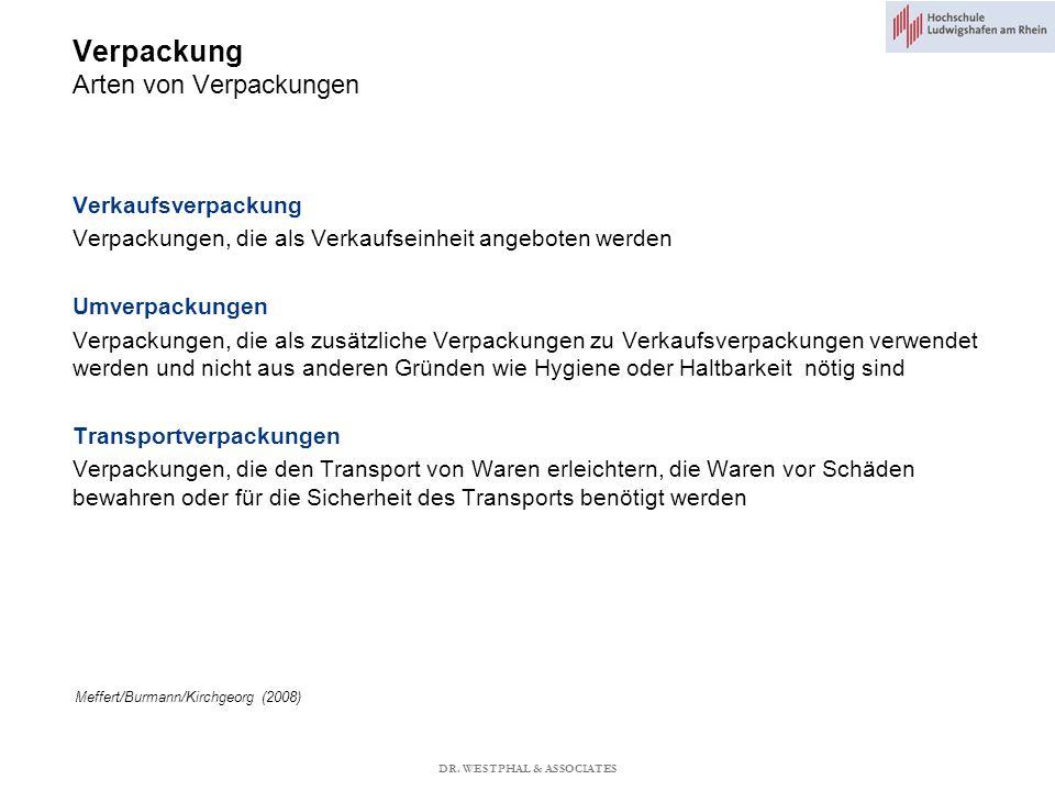 Verpackung Arten von Verpackungen Meffert/Burmann/Kirchgeorg (2008) Verkaufsverpackung Verpackungen, die als Verkaufseinheit angeboten werden Umverpackungen Verpackungen, die als zusätzliche Verpackungen zu Verkaufsverpackungen verwendet werden und nicht aus anderen Gründen wie Hygiene oder Haltbarkeit nötig sind Transportverpackungen Verpackungen, die den Transport von Waren erleichtern, die Waren vor Schäden bewahren oder für die Sicherheit des Transports benötigt werden DR.