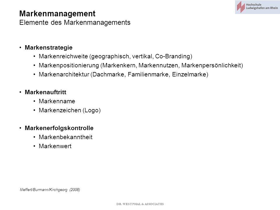 Markenmanagement Elemente des Markenmanagements Meffert/Burmann/Kirchgeorg (2008) Markenstrategie Markenreichweite (geographisch, vertikal, Co-Branding) Markenpositionierung (Markenkern, Markennutzen, Markenpersönlichkeit) Markenarchitektur (Dachmarke, Familienmarke, Einzelmarke) Markenauftritt Markenname Markenzeichen (Logo) Markenerfolgskontrolle Markenbekanntheit Markenwert DR.