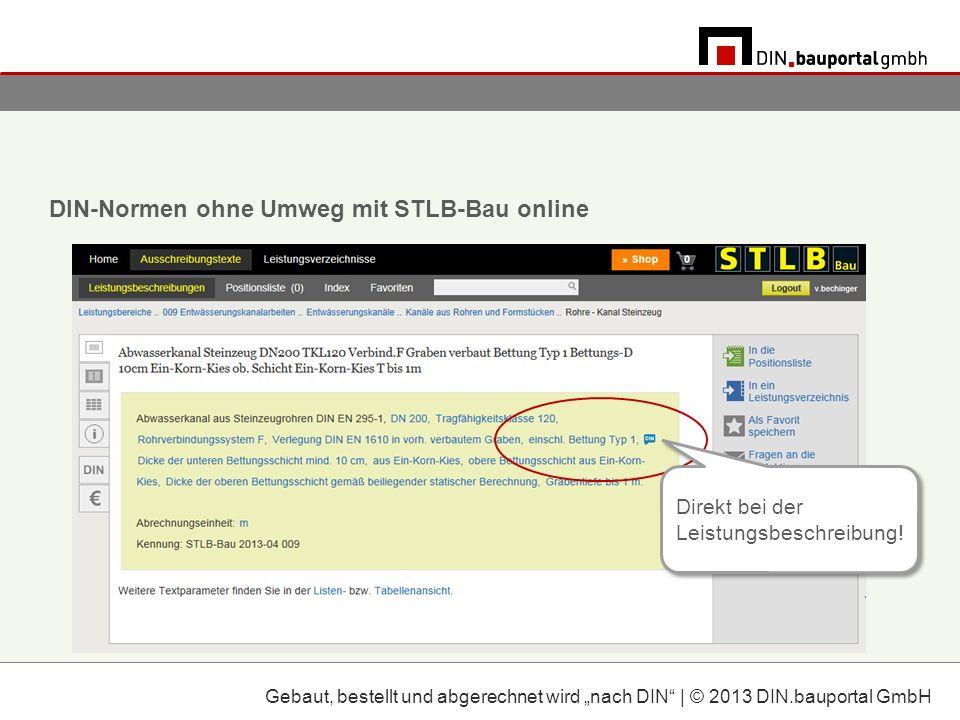 DIN-Normen ohne Umweg mit STLB-Bau online Direkt bei der Leistungsbeschreibung.