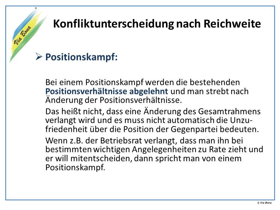 © Via Bona Positionskampf: Bei einem Positionskampf werden die bestehenden Positionsverhältnisse abgelehnt und man strebt nach Änderung der Positionsv