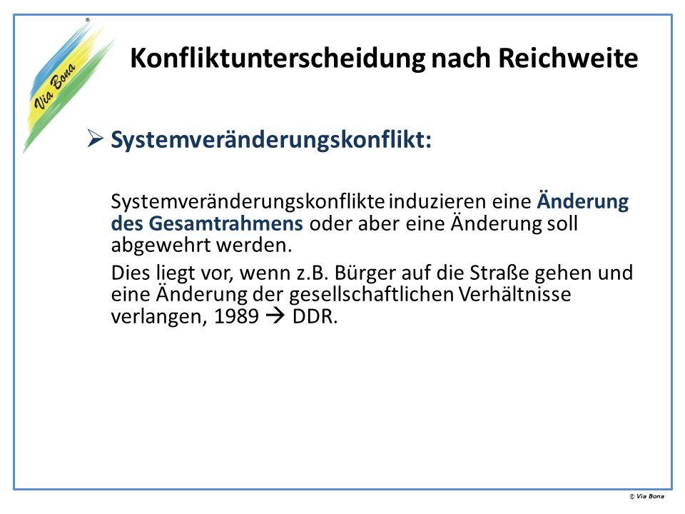 © Via Bona Systemveränderungskonflikt: Systemveränderungskonflikte induzieren eine Änderung des Gesamtrahmens oder aber eine Änderung soll abgewehrt w