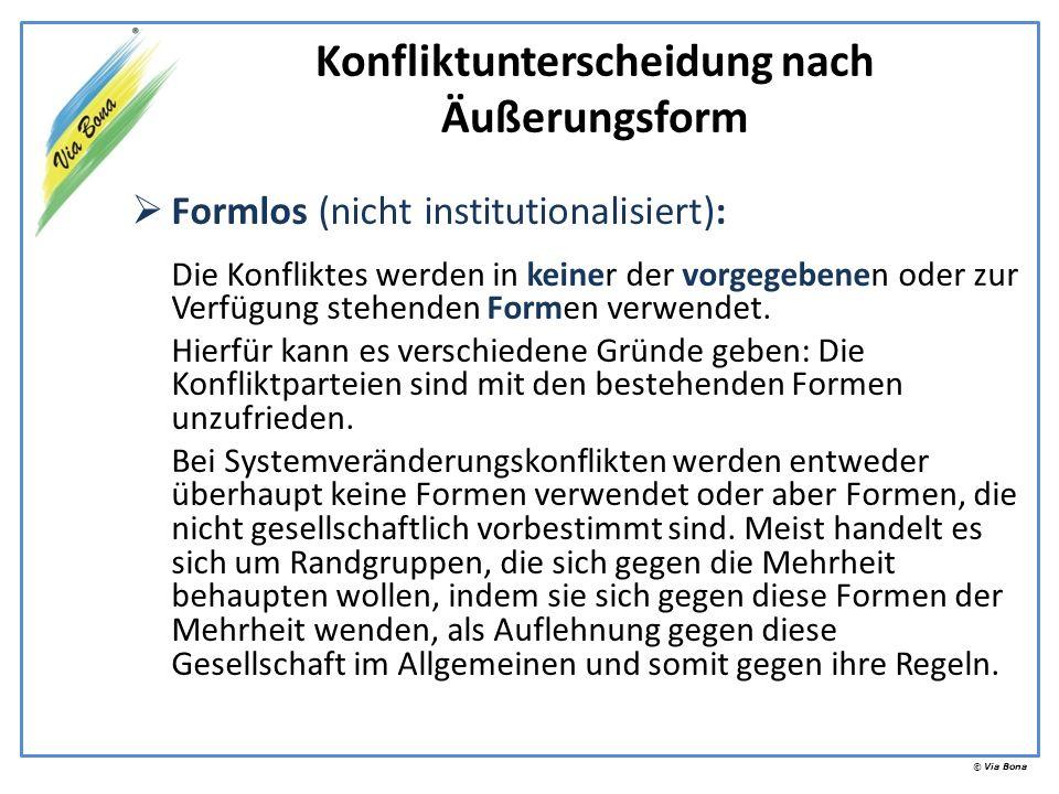© Via Bona Formlos (nicht institutionalisiert): Die Konfliktes werden in keiner der vorgegebenen oder zur Verfügung stehenden Formen verwendet. Hierfü
