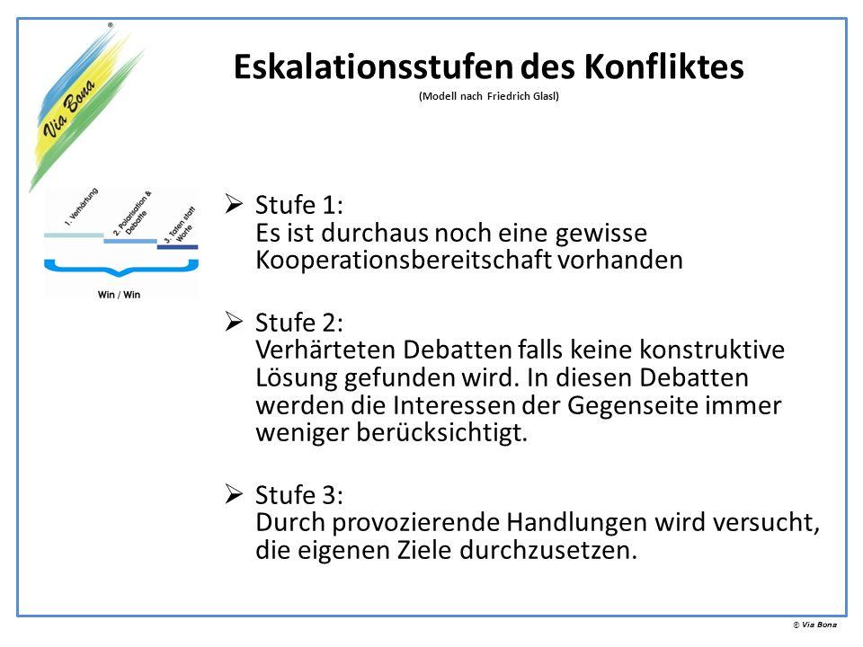 © Via Bona Stufe 1: Es ist durchaus noch eine gewisse Kooperationsbereitschaft vorhanden Stufe 2: Verhärteten Debatten falls keine konstruktive Lösung