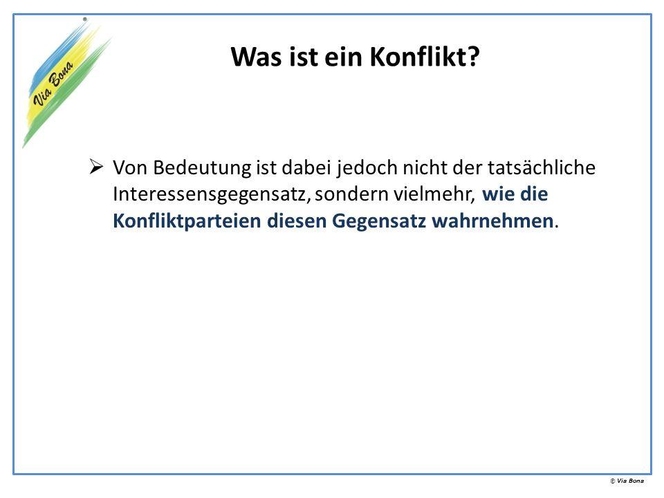 © Via Bona Eskalationsstufen des Konfliktes (Durch Via Bona modifiziertes Modell auf Grundlage des Modells von Friedrich Glasl.)