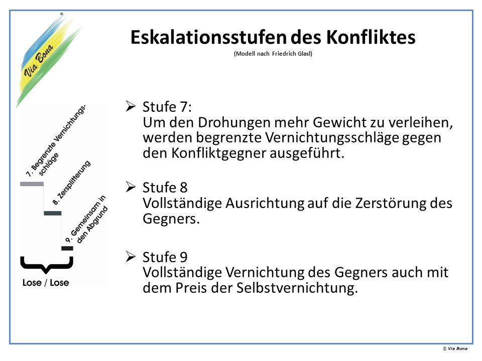 © Via Bona Stufe 7: Um den Drohungen mehr Gewicht zu verleihen, werden begrenzte Vernichtungsschläge gegen den Konfliktgegner ausgeführt. Stufe 8 Voll