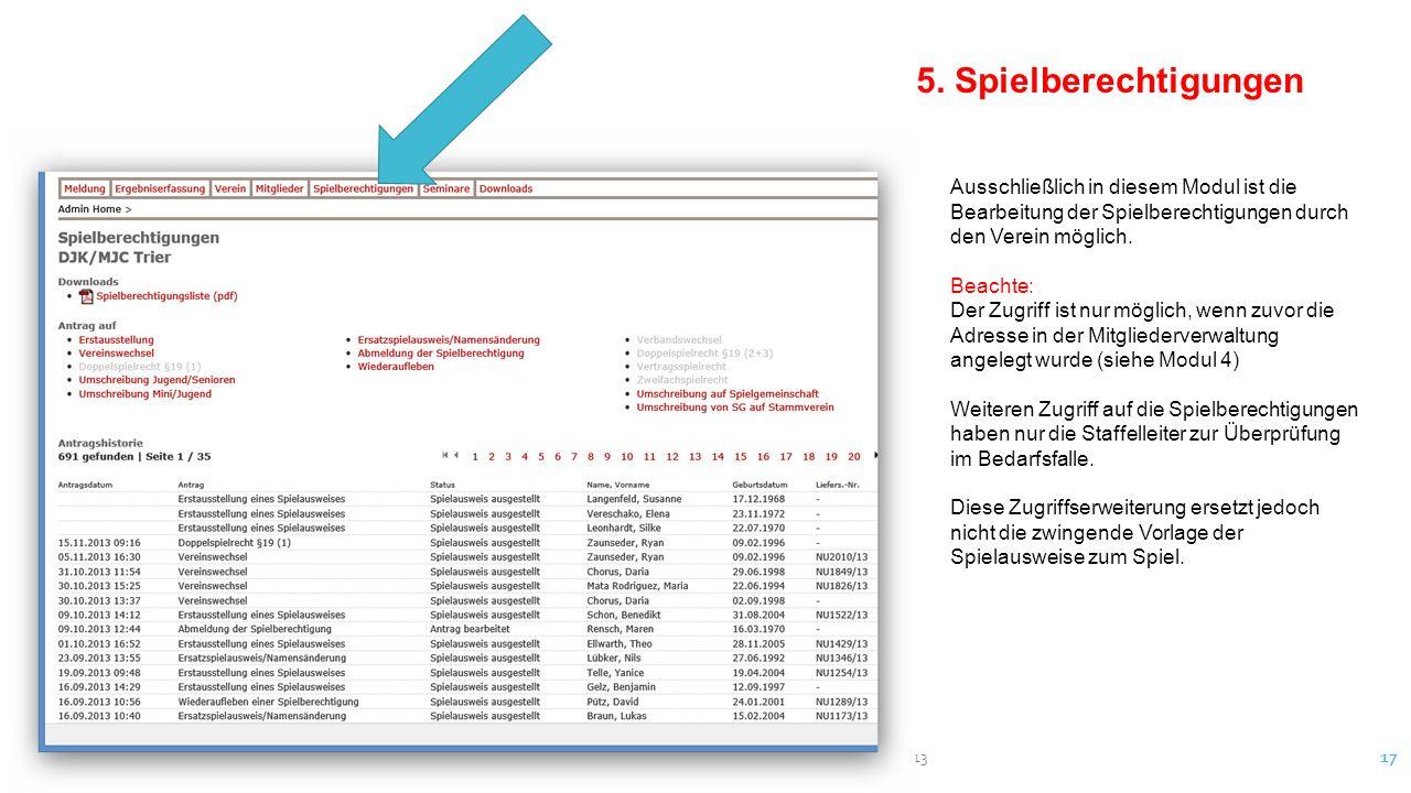 nU-Liga - Anleitungen Verfasser: Herbert Schuhmacher Oktober 2013 17 5. Spielberechtigungen Ausschließlich in diesem Modul ist die Bearbeitung der Spi