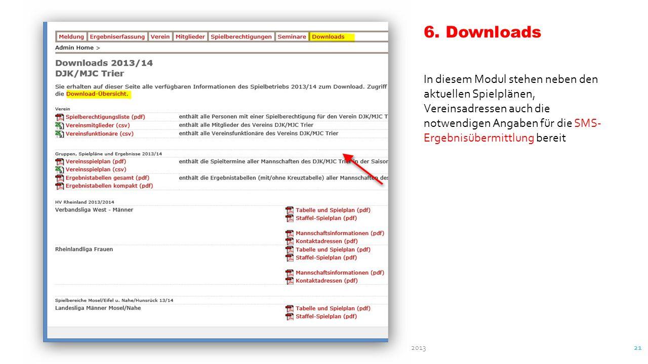 nU-Liga - Anleitungen Verfasser: Herbert Schuhmacher Oktober 2013 21 6. Downloads In diesem Modul stehen neben den aktuellen Spielplänen, Vereinsadres