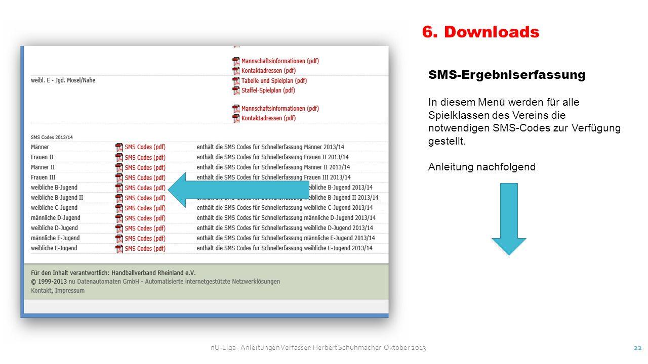 nU-Liga - Anleitungen Verfasser: Herbert Schuhmacher Oktober 2013 22 6. Downloads SMS-Ergebniserfassung In diesem Menü werden für alle Spielklassen de