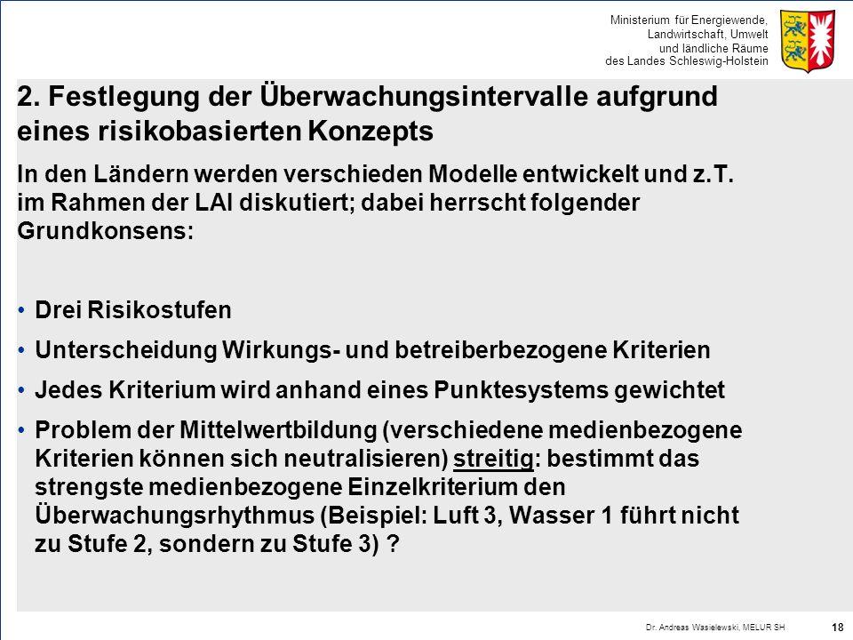 Ministerium für Energiewende, Landwirtschaft, Umwelt und ländliche Räume des Landes Schleswig-Holstein 2. Festlegung der Überwachungsintervalle aufgru