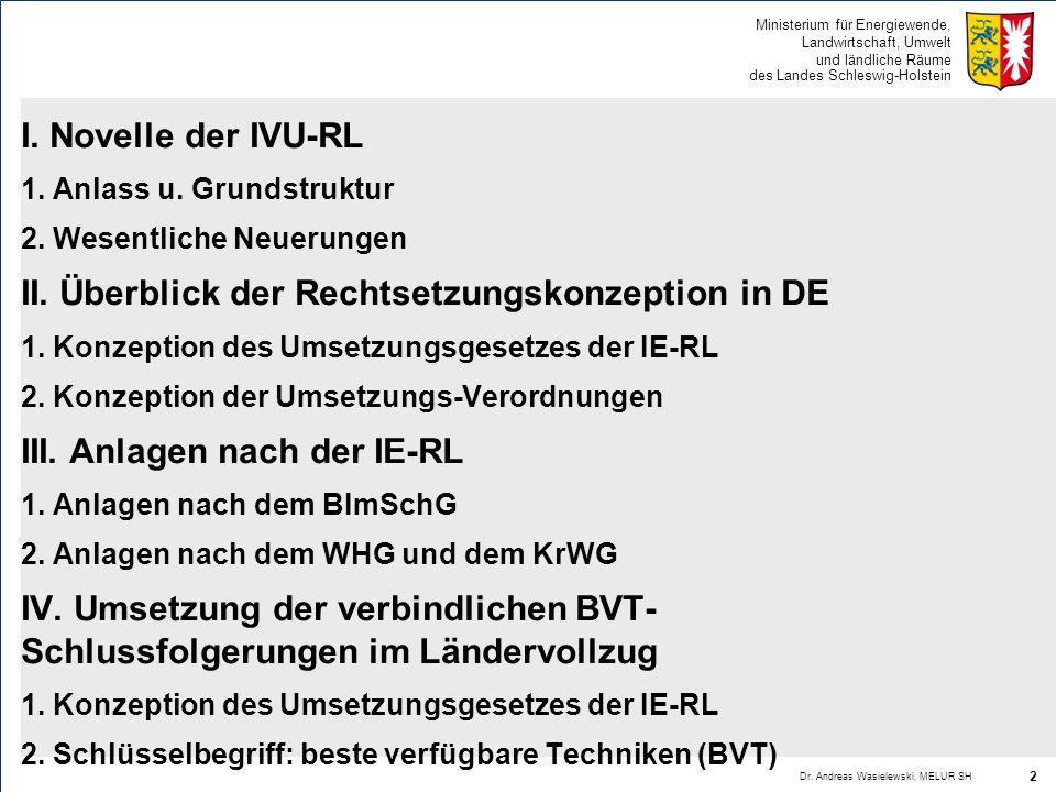 Ministerium für Energiewende, Landwirtschaft, Umwelt und ländliche Räume des Landes Schleswig-Holstein I. Novelle der IVU-RL 1. Anlass u. Grundstruktu