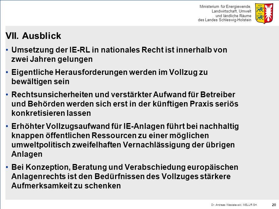 Ministerium für Energiewende, Landwirtschaft, Umwelt und ländliche Räume des Landes Schleswig-Holstein VII. Ausblick Umsetzung der IE-RL in nationales