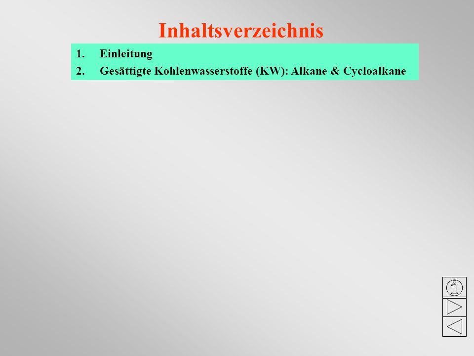 Inhaltsverzeichnis 1.Einleitung 2.Gesättigte Kohlenwasserstoffe (KW): Alkane & Cycloalkane