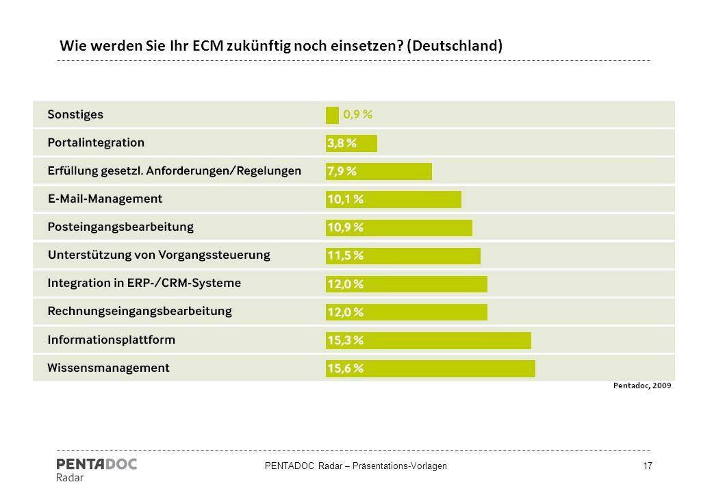 PENTADOC Radar – Präsentations-Vorlagen17 Wie werden Sie Ihr ECM zukünftig noch einsetzen? (Deutschland)