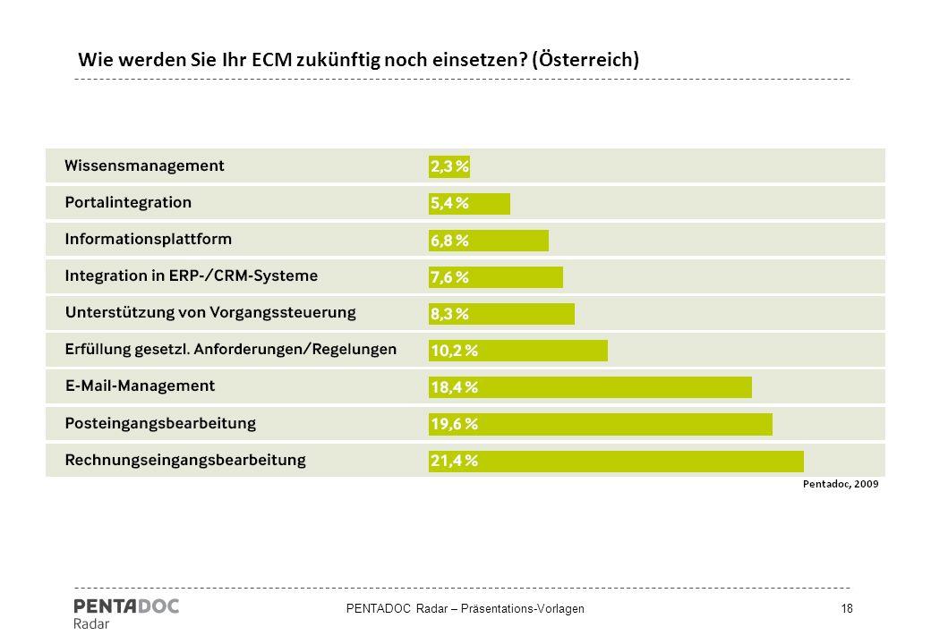 PENTADOC Radar – Präsentations-Vorlagen18 Wie werden Sie Ihr ECM zukünftig noch einsetzen? (Österreich)