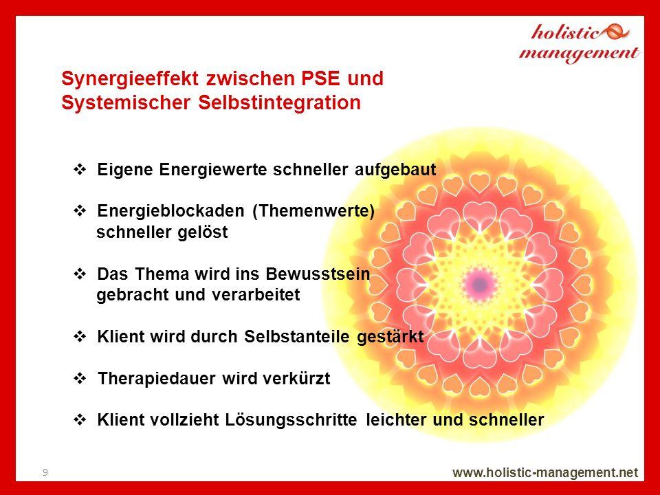 Synergieeffekt zwischen PSE und Systemischer Selbstintegration www.holistic-management.net Eigene Energiewerte schneller aufgebaut Energieblockaden (T
