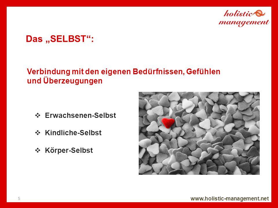 Das SELBST: www.holistic-management.net Erwachsenen-Selbst Kindliche-Selbst Körper-Selbst 5 Verbindung mit den eigenen Bedürfnissen, Gefühlen und Über